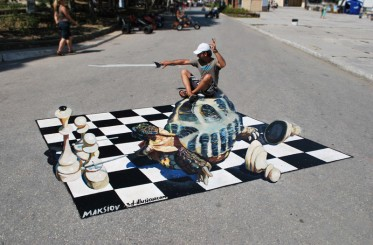 """Checkmate!"" 3d street painting in Crimea, Ukraine"