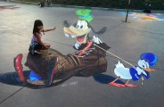 """Goofy"" 3d street painting festival in Disney land"