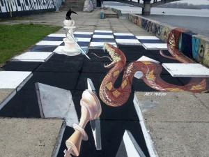 """""""Revenge"""" 3d street painting in Kiev, Ukraine"""