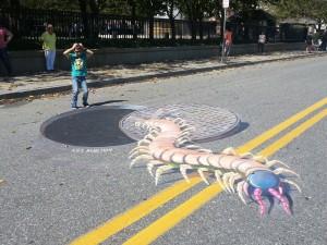 """""""Centipede"""" in Art chalk festival in Atlantic City"""
