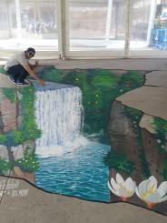 """Waterfall"" 3d street painting in Istanbul, Turkey"