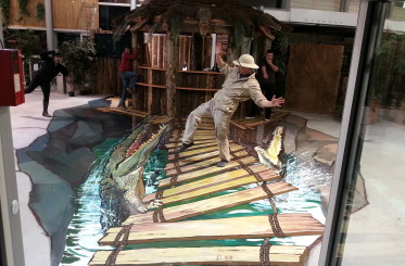 Feeding of crocodile in Exotic Park Royan, France