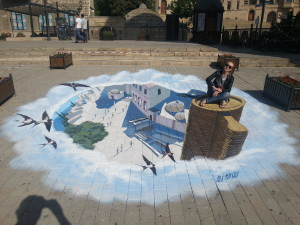 "3d street painting ""Maiden Tower"""