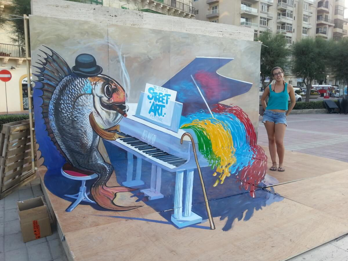 Sliema Street Art Festival Malta on One Point Perspective Drawing