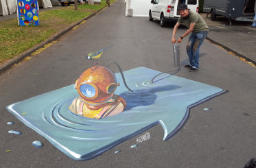 "3d street painting ""Inflate"" for festival in Nordhorn, Germany"