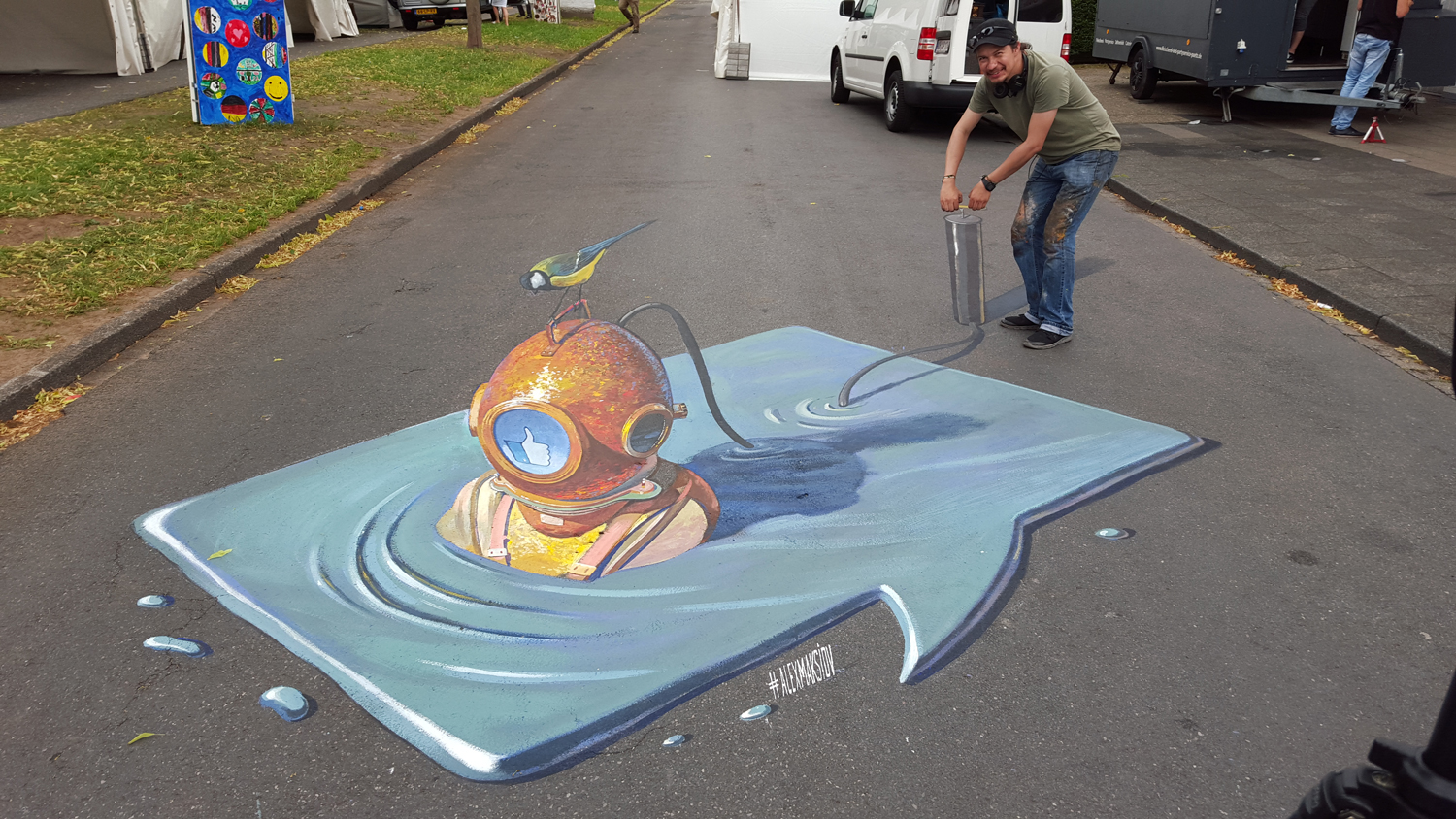 My new 3d painting inflate 3d street painting by alex for 3d street painting mural art