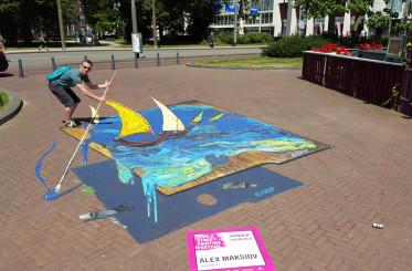 """3d street painting """"Van Gogh palette"""" in Arnhem"""