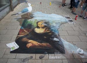 """3d street painting """"Danke!"""" for Street Art Festival in Wilhelmshaven 2015"""