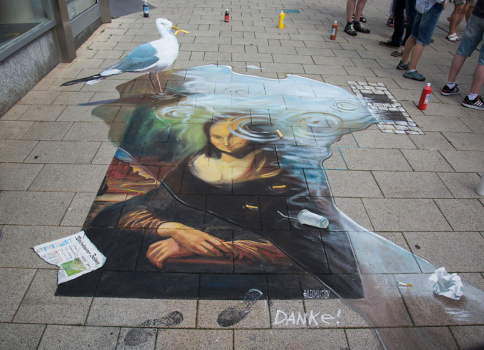 "3d street painting ""Danke!"" for Street Art Festival in Wilhelmshaven 2015"