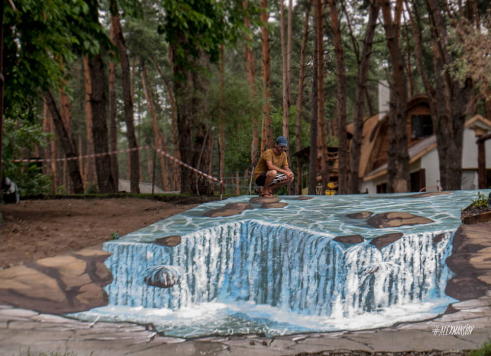 "3d street painting ""Waterfall"""