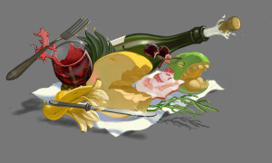 """Sketch of my 3d painting """"Angry Food"""""""