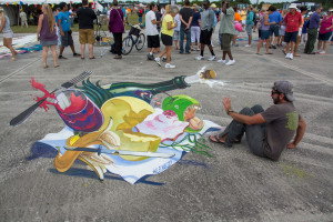 "3d street painting ""Angry food"""