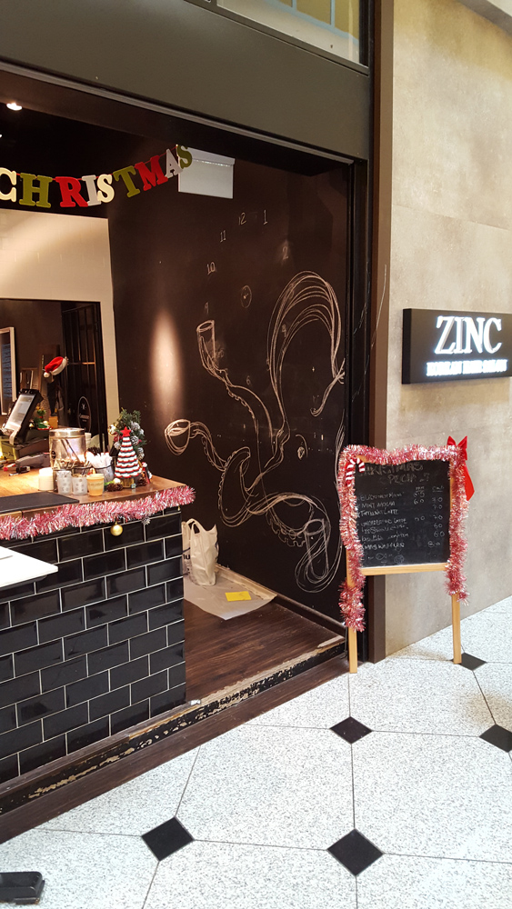 "3d mural ""Octopus in Cafe"""