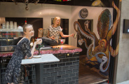 3d mural in Commune Cafe, Singapore