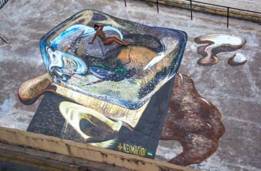 "3d painting ""Hot & Cold"" in Valetta"