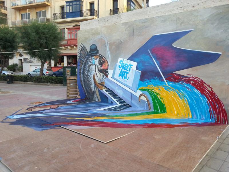 "3d street painting ""Music of street art"""