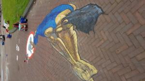 "3d street painting ""Hammer"" thrower in Arnhem"