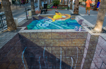 "3d street painting ""Yellow Submarine"" in Afula"