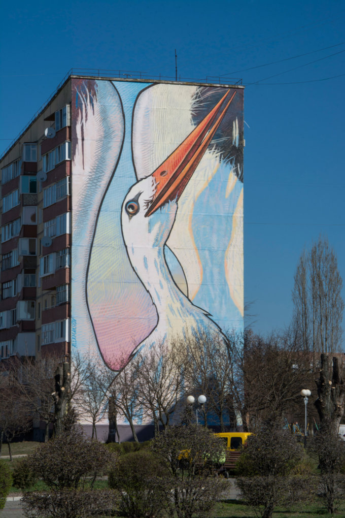 "Mural ""Stork"" in Kuznetsovsk city"