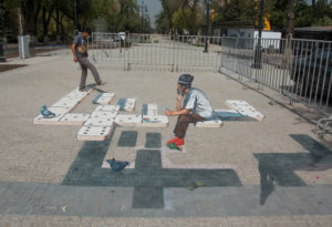 "3d street painting ""Domino"" in Almaty"