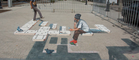 "3d street painting ""Domino"" in Almaty"